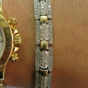 Jewelry - Four Row Pave Diamond Tennis Bracelet Solid 14Kt Y